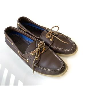 Sperry Top Sider Boat Shoes Brown Leather 10.5